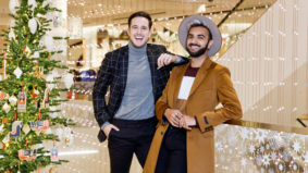 A fun-loving, globetrotting couple hunts for the perfect holiday party look