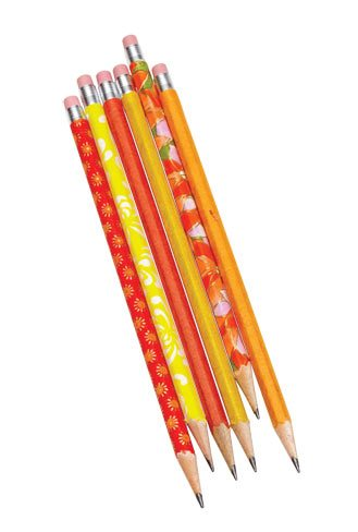 Pencils wrapped in silkscreened Chiyogami and Moriki Kozo paper are a cut above regular old No. 2s. $11 for six. The Paper Place, 887 Queen St. W., 416‑703-0089.