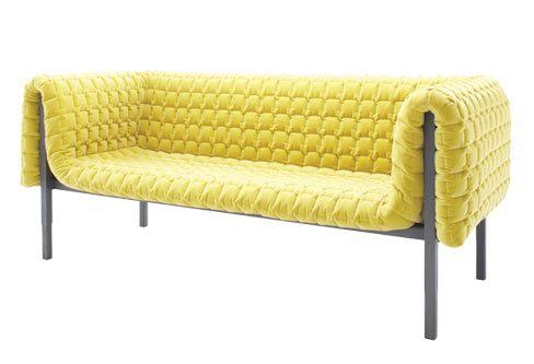 Ligne Roset's quilted sofa comes in lemon yellow and baby blue. Custom order only. From $5,173. Kiosk, 672 Dupont St., 416-539-9665.