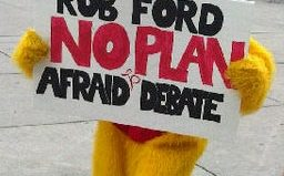 Why did the chicken cross the road? Maybe because he was paid to make fun of Rob Ford