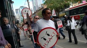 Yorkville 1: King West 0. Hotel workers picket outside Hyatt