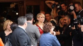 Spotted! Woody Allen and Lucy Punch sneaking out of their own premiere