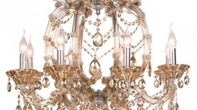 The Find: a glamorous, champagne-coloured chandelier