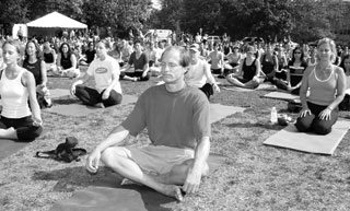 Woody Harrelson at a yoga gathering