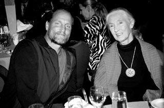 Woody Harrelson with Jane Goodall