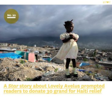 No.20, A Star story about Lovely Avelus prompted readers to donate 30 grand for Haiti relief