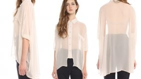 The Find: a barely-there nude chiffon blouse inspired by a much maligned '80s hairstyle