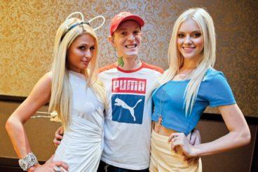 Zimmerman with Paris Hilton and his girlfriend, Lindsey Gayle Evans. (Image: Drew Ressler/rukes.com)