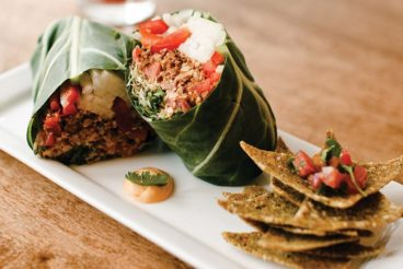 Belmonte Raw's collard burrito with dehydrated ground-kernel corn chips