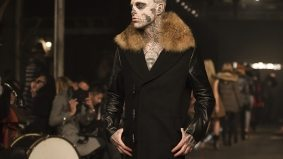 Zombie Boy and Heather Marks draw a crowd for Mackage's fall/winter 2012 runway show