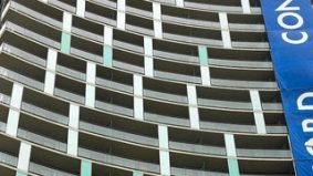 CityPlace gets both uglier and safer with protective netting on balconies