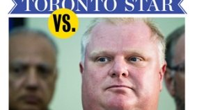 Rob Ford waves his fist at a Toronto Star reporter in a bizarre backyard altercation