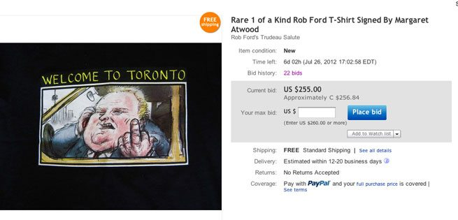 For sale: a T-shirt with Rob Ford flipping the finger, signed by Margaret Atwood