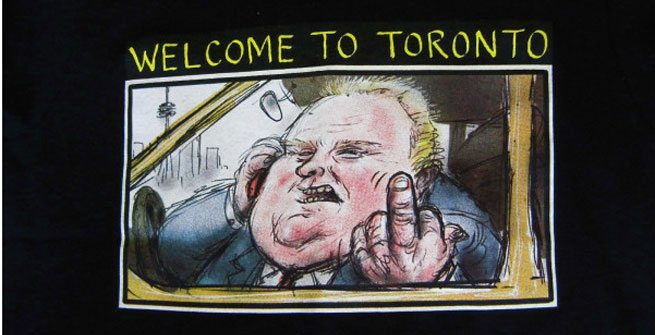 A T-shirt emblazoned with Rob Ford flipping the bird sells for $7,100 on eBay