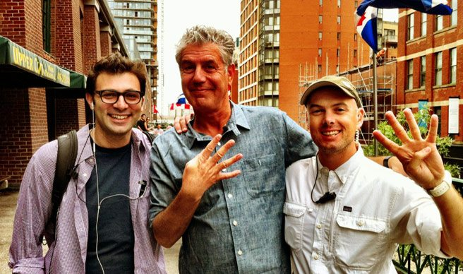 Spotted: Anthony Bourdain at St. Lawrence Market, probably shooting No Reservations