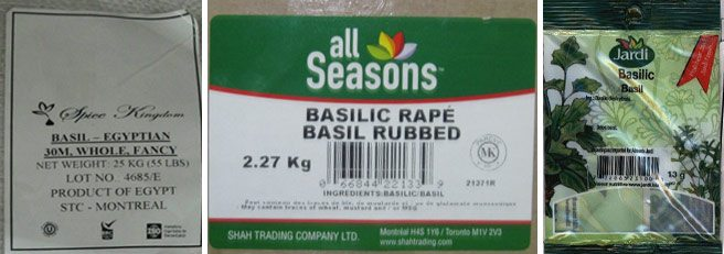 Totally Recalled: various dried basil products, for home and professional use