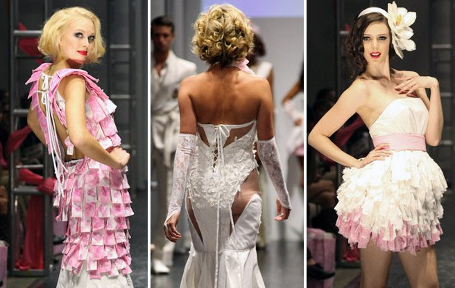 12 evening gowns made of toilet paper at the 2012 Cashmere fashion show