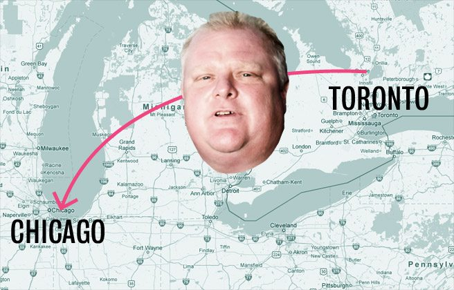 Rob Ford's trip to Chicago, by the headlines