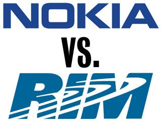 Nokia versus RIM: a patent dispute could result in a BlackBerry sales ban