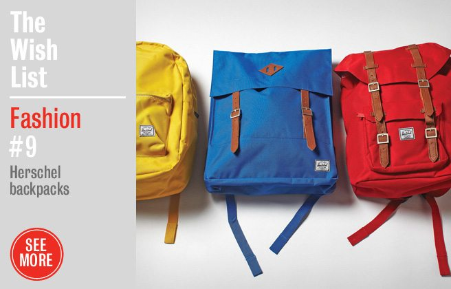Holiday Gift Guide 2012: Herschel's durable, primary-coloured backpacks