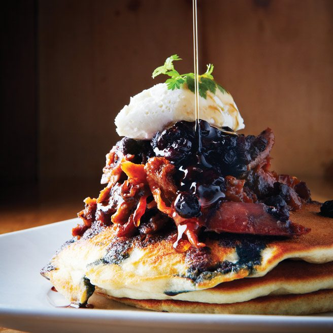 Recipe: Barque's belt-busting flapjack tower of pulled barbecue duck meat, chèvre and blueberry compote