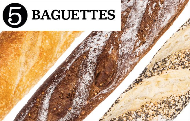 Five top baguettes, from classic white to multigrain and seed-crusted