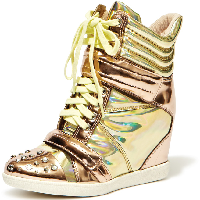 The Find: high-heeled sneakers may sound like an oxymoron, but they're the most popular shoe in town