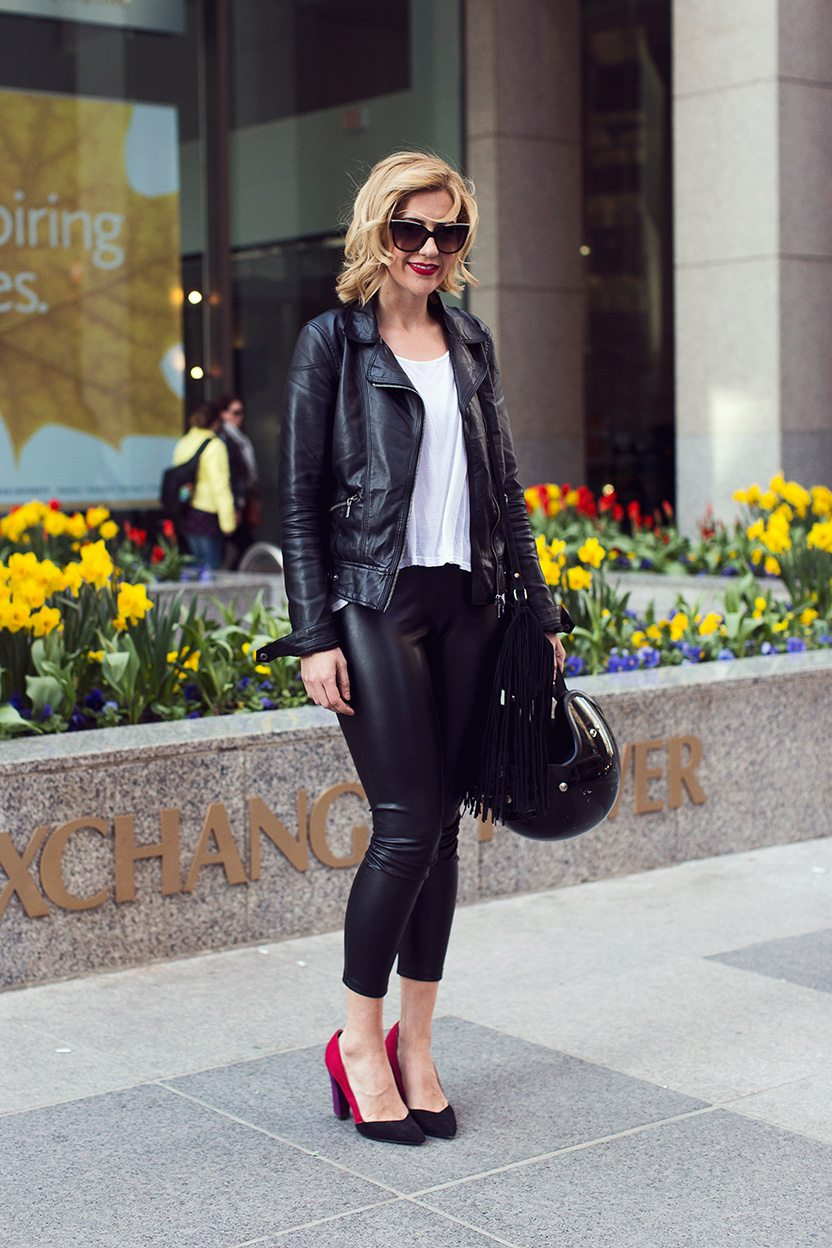 Street Style: colourful, casual and decidedly trendy office attire in the Financial District