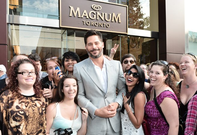 Chef Mark McEwan and actor Joe Manganiello show up for the opening of the Magnum Pleasure Store (which is not an underground sex emporium)