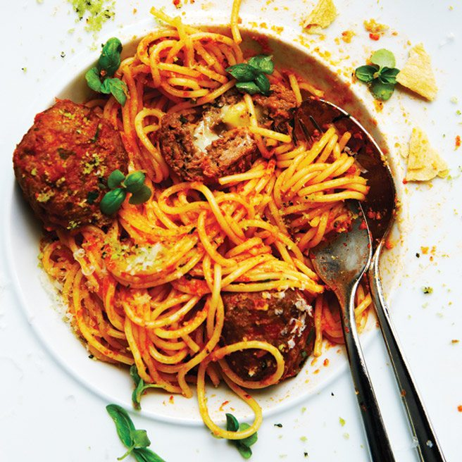 Recipe: spaghettini and gooey mozzarella meatballs from Woods chef Bruce Woods