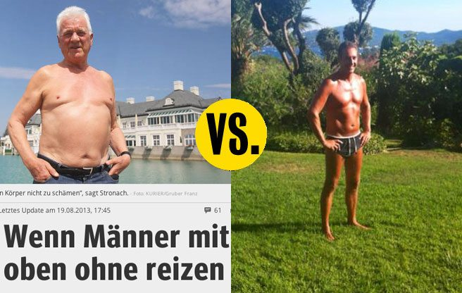 Billionaire octogenarian Frank Stronach tries to win over Austrian voters by showing off his body