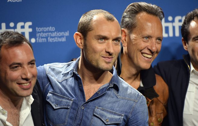 Jude Law and Richard E. Grant get super deep at the presser for Dom Hemingway
