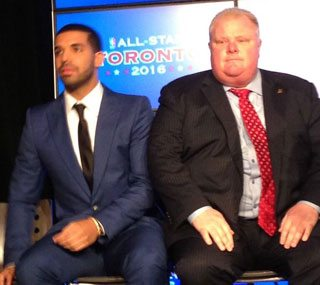 Drake and Rob Ford team up to try to make the Raptors cool again