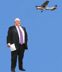 Updated: Doug Ford claims police used an airplane to spy on the mayor (but he's totally not worried about it)