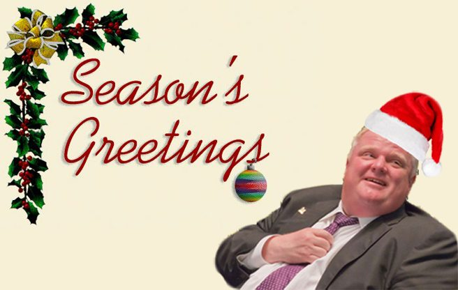 Rob Ford invites the media to a Christmas party at his mom's house, and the predictable happens