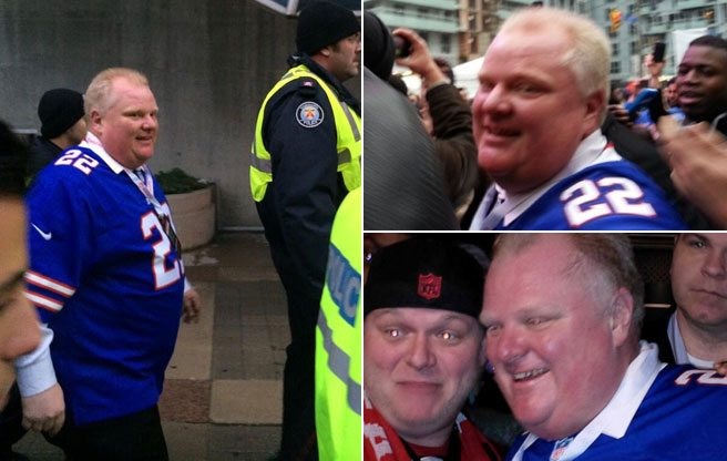 Rob Ford eats chicken wings, steals a seat and works up the crowd the Buffalo Bills game in Toronto