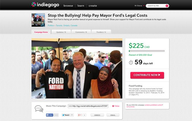 Indiegogo campaign tries to crowdfund legal fees for Rob Ford