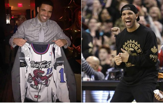Drake flaunts a Raptor-themed novelty jacket at Saturday's game (and accidentally fuels a black market for free shirts)