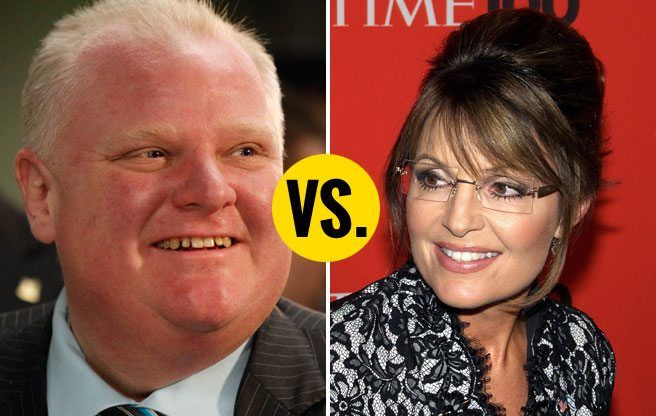 Sarah Palin would beat Rob Ford in a race for the U.S. presidency, says weird poll
