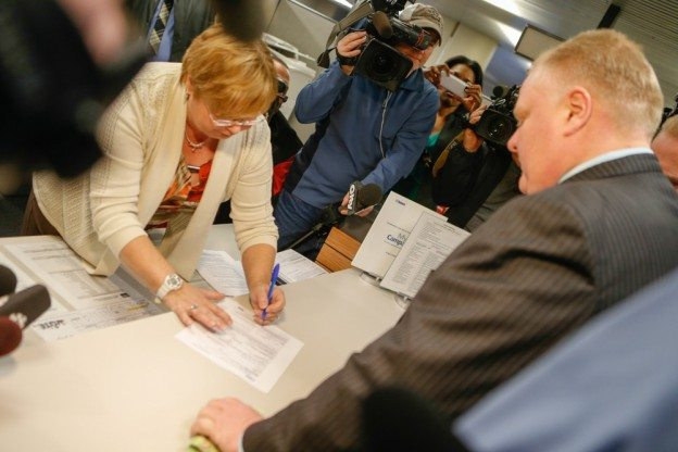 Rob Ford gets back to campaigning literally as soon as he can—and has the floor to himself
