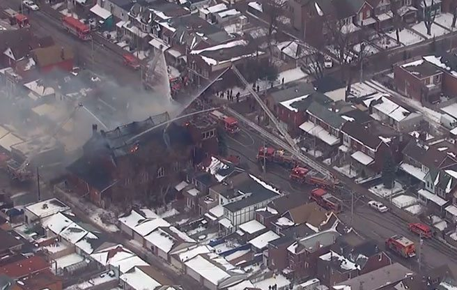 PHOTO: a church conversion at Dufferin and Dupont faces a fiery setback