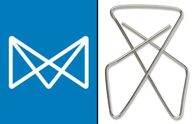 Mississauga's new logo (left) and a paper clip (right).