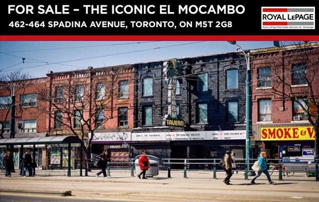 The El Mocambo is back up for sale, this time for $4 million