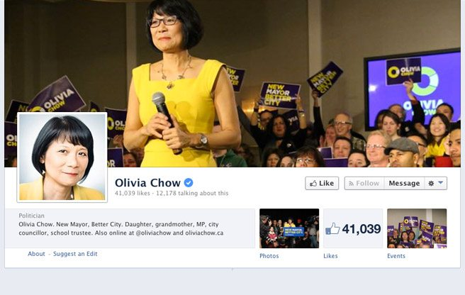 Olivia Chow leads the race…in deletions of hateful Facebook comments
