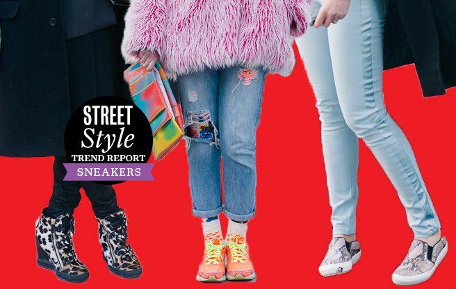 Street Style Trend Report: Fashion Week attendees trade stilettos for comfy sneakers