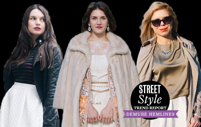 Street Style Trend Report: skirts fall below the knees at Toronto Fashion Week