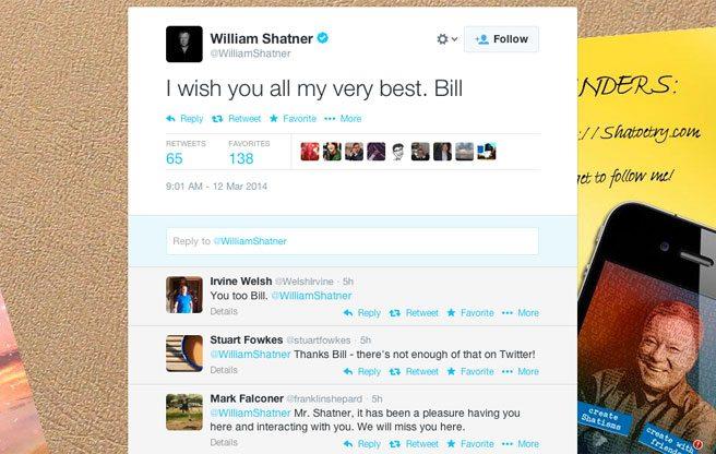 William Shatner quits Twitter
