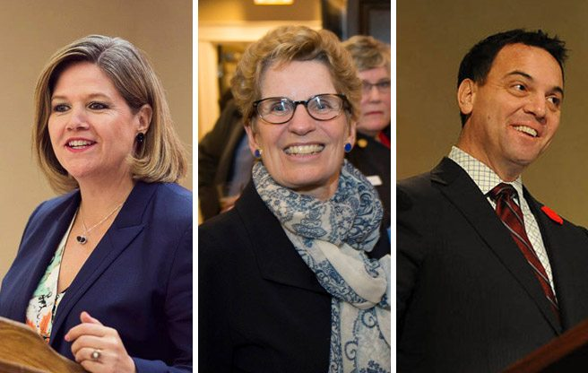 Andrea Horwath/Facebook; Wynne: Loralea Carruthers/Facebook; Hudak: Ontario Chamber of Commerce)