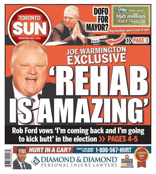QUOTED: Rob Ford, on whether or not rehab is amazing