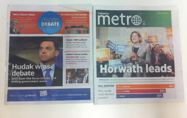 Two free dailies sell their covers to two different political parties on the same day